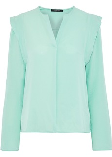Derek Lam Woman Ruffle-trimmed Silk Crepe De Chine Blouse Mint