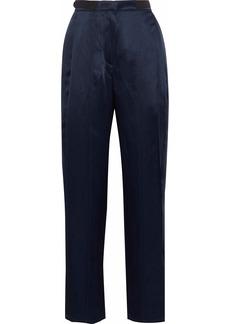 Derek Lam Woman Satin-crepe Straight-leg Pants Navy