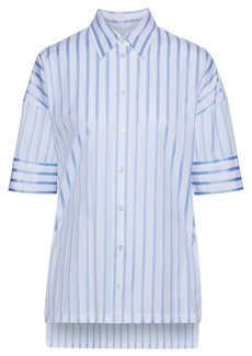 Derek Lam Woman Oversized Striped Cotton-poplin Shirt Blue