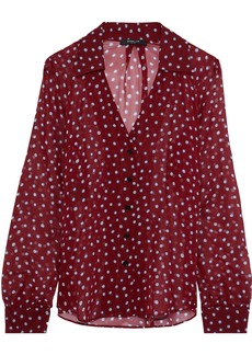Derek Lam Woman Polka-dot Silk-georgette Blouse Burgundy
