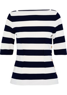 Derek Lam Woman Snap-detailed Striped Cotton Top Navy