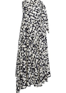 Derek Lam Woman Strapless Knotted Floral-print Silk-jacquard Midi Dress Black