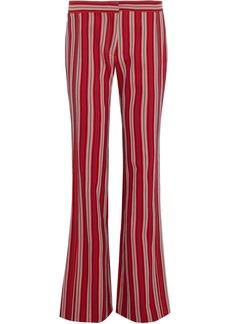 Derek Lam Woman Striped Cotton-twill Flared Pants Red