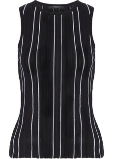 Derek Lam Woman Striped Ribbed-knit Cotton-blend Top Black
