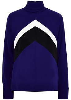 Derek Lam Woman Striped Silk-crepe Turtleneck Top Royal Blue