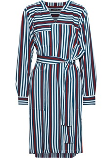 Derek Lam Woman Belted Striped Twill Shirt Dress Multicolor