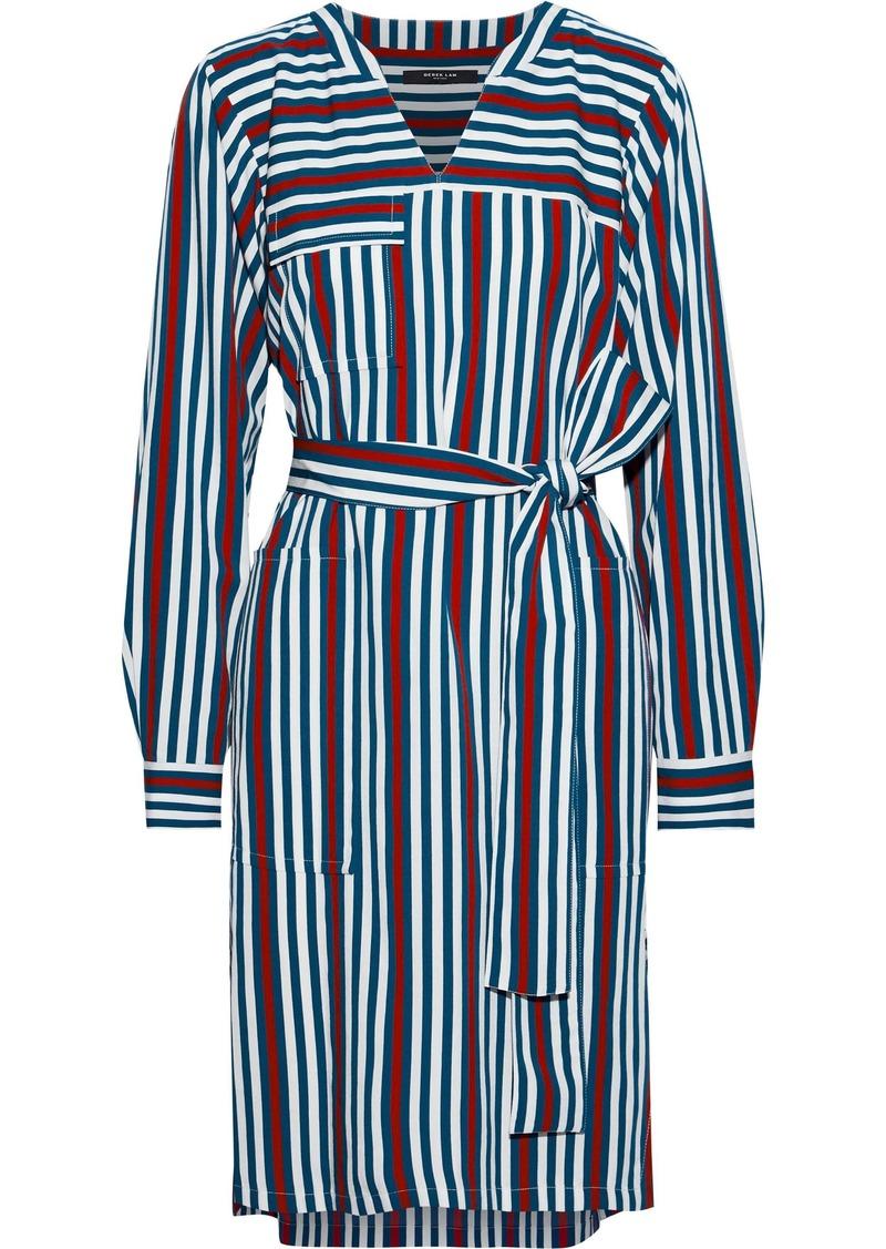 Derek Lam Woman Belted Striped Twill Shirt Dress Multicolor