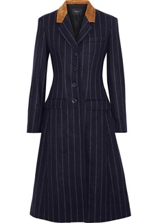 Derek Lam Woman Studded Suede-paneled Pinstriped Wool-felt Coat Midnight Blue