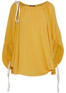 Derek Lam Woman Tie-detailed Silk-crepe Blouse Mustard