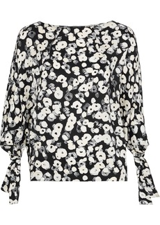 Derek Lam Woman Printed Silk-jacquard Blouse Black