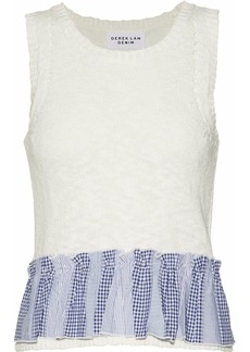 Derek Lam Woman Two-tone Jacquard-trimmed Pointelle-knit Cotton-blend Top Off-white