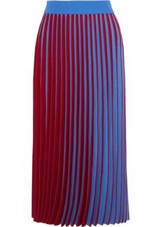 Derek Lam Woman Two-tone Pleated Stretch-knit Midi Skirt Light Blue