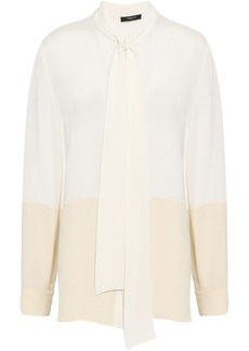 Derek Lam Woman Tie-neck Two-tone Silk-crepe Blouse Ivory