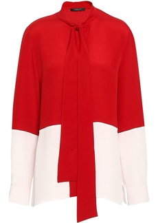 Derek Lam Woman Tie-neck Two-tone Silk-crepe Blouse Red