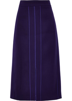 Derek Lam Woman Wool-blend Gabardine Midi Pencil Skirt Dark Purple