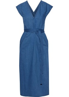 Derek Lam Woman Wrap-effect Belted Denim Midi Dress Blue