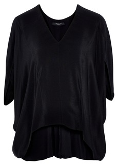 Derek Lam Woman Zen Draped Silk Crepe De Chine Blouse Black