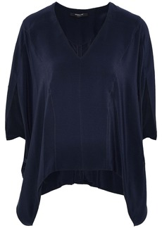 Derek Lam Woman Zen Draped Silk Crepe De Chine Blouse Navy