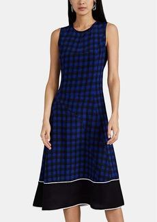 Derek Lam Women's Abstract-Gingham Silk Sleeveless Dress - Blue
