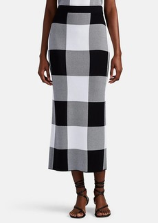 Derek Lam Women's Checked Jacquard-Knit Pencil Midi-Skirt - Black