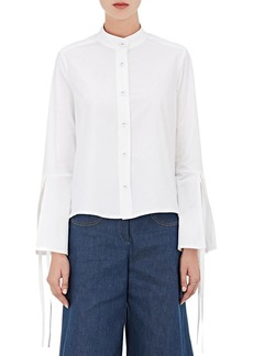 Derek Lam Women's Cotton Poplin Self-Tie-Cuff Shirt
