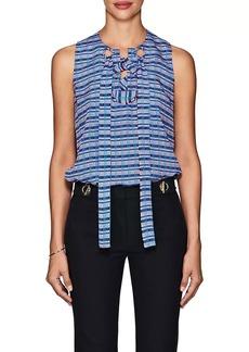 Derek Lam Women's Lace-Up Mixed-Stripe Silk Blouse