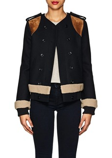 Derek Lam Women's Shearling-Trimmed Wool-Cashmere Double-Breasted Jacket