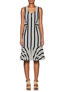 Derek Lam Women's Striped Crocheted Cotton Flounce Dress