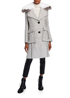 Derek Lam Detachable Fur-Collar Tweed Coat