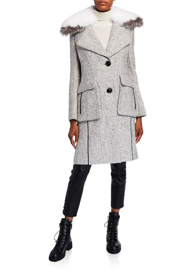 Derek Lam Detachable Fur-Collar Tweed Coat