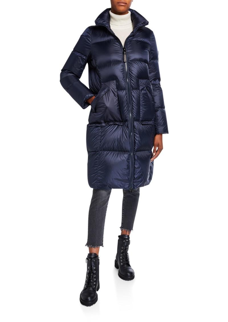 Derek Lam Detachable Fur-Trim Long Soft Down Coat