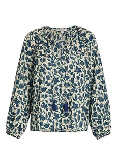 Derek Lam Devon Floral Long-Sleeve Blouse