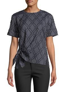 Derek Lam Diamond-Stripe Short-Sleeve Knotted Top