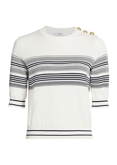 Derek Lam Diana Short-Sleeve Striped Pullover
