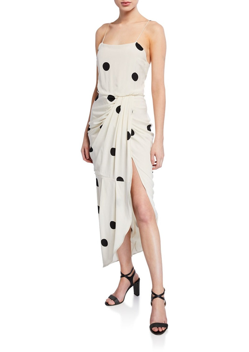 Derek Lam Dotted Cami Dress with Sarong Skirt
