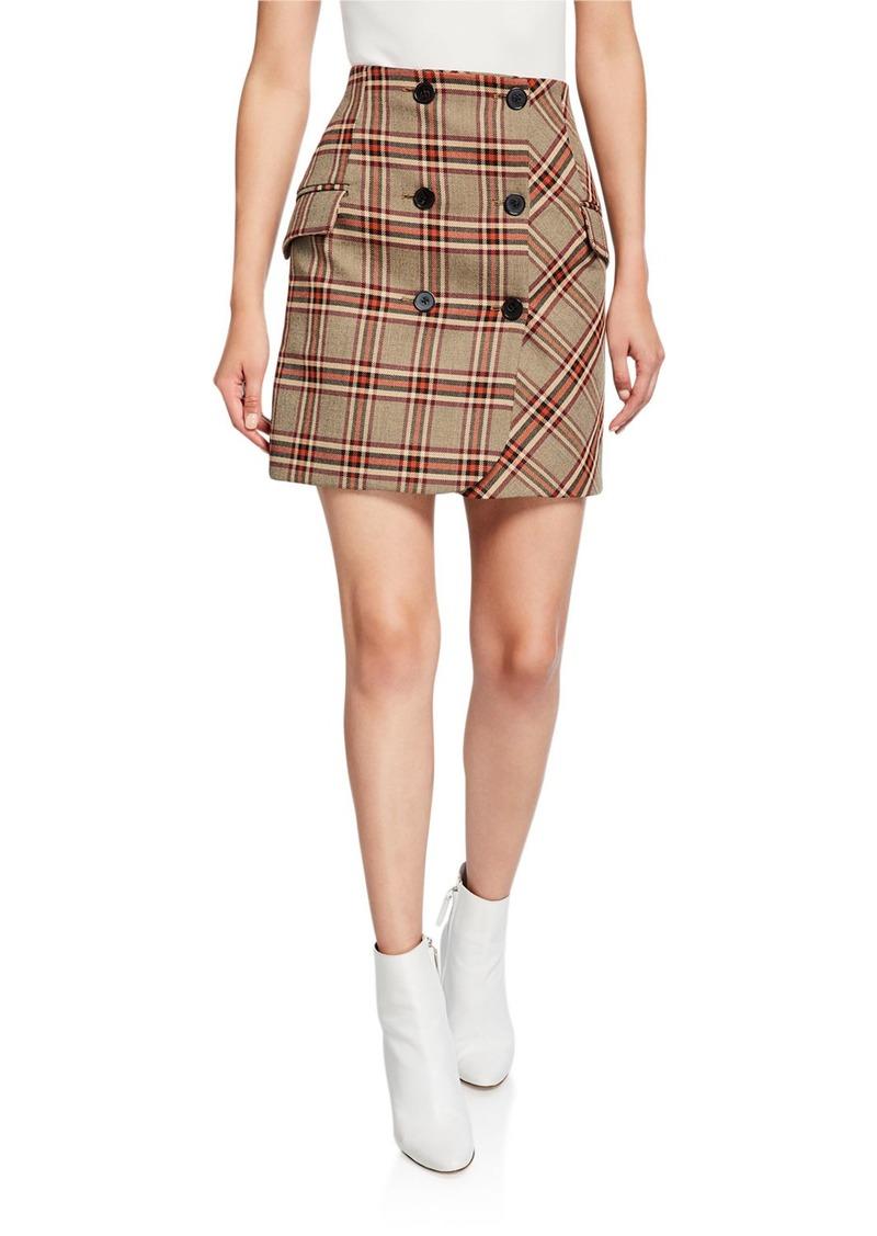 Derek Lam Double-Breasted Check Mini Skirt