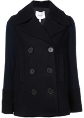 Derek Lam Double Breasted Pea Coat with Knit Sleeves
