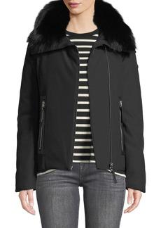 Derek Lam Down A-Line Parka Short Jacket with Fox Fur Trim