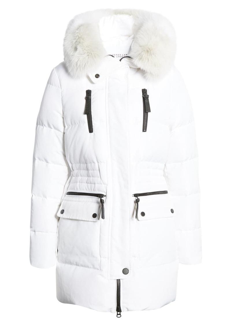 Derek Lam Down Snorkel Hood Jacket with Genuine Fox Fur Trim