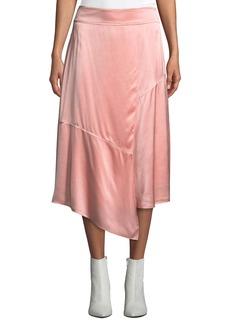 Derek Lam Draped Asymmetric Satin Midi Skirt