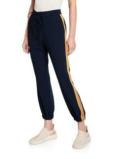 Derek Lam Drawstring Ankle Jogger Pants with Racer Stripes