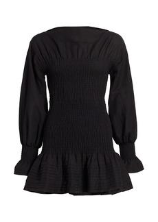 Derek Lam Dua Puff-Sleeve Smocked Cotton Dress