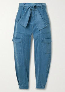 Derek Lam Elian Cropped Belted Cotton-blend Twill Tapered Cargo Pants
