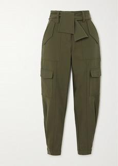 Derek Lam Elian Cropped Belted Cotton-blend Twill Tapered Pants