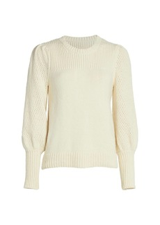 Derek Lam Ella Mixed Stitch Puff-Sleeve Sweater
