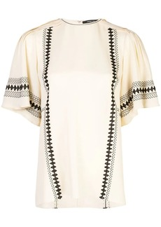 Derek Lam Embroidered Short Sleeve Georgette Blouse