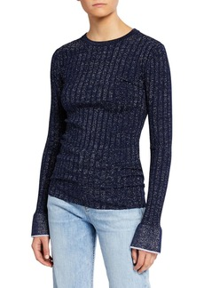 Derek Lam Fitted Ribbed Crewneck Pullover