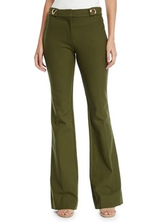 Derek Lam Flared Crepe Trousers with Grommet Details