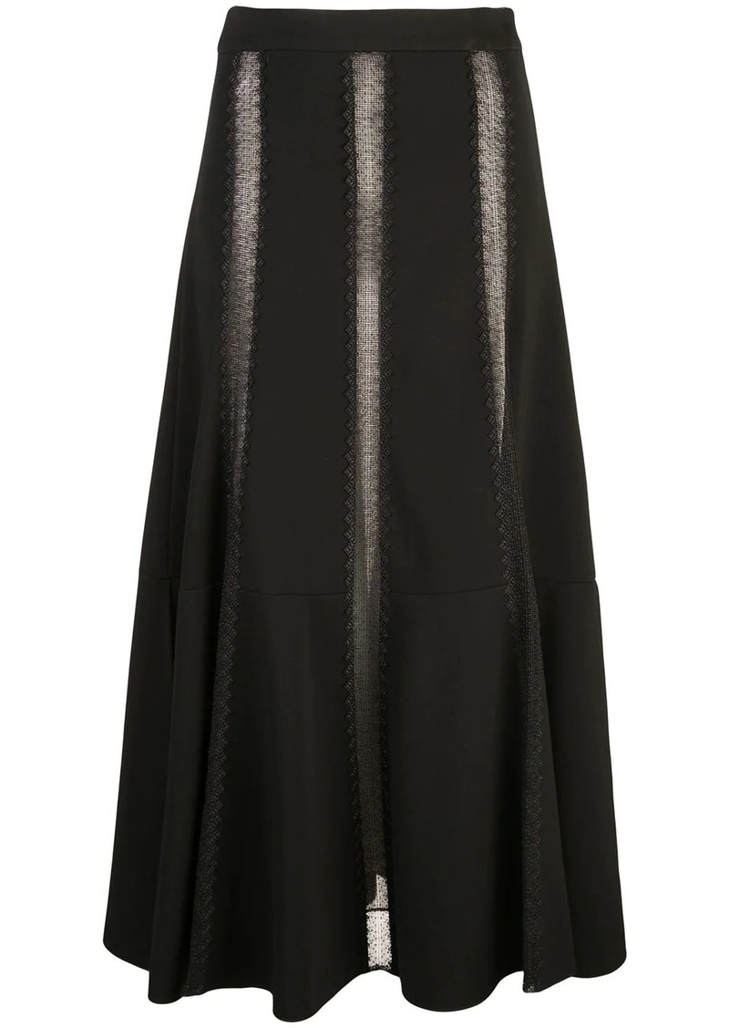 Derek Lam Flared Lace Inset Skirt