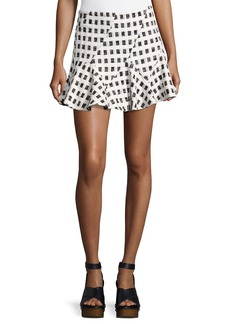 Derek Lam Flared Mini Skirt W/ Lacing  Black/White